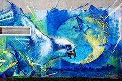Street art Montreal bird. MONTREAL CANADA DEC 02: Street art Montreal bird on dec 02 2014 in Montreal Canada. Montreal. is the perfect place to walk in the back stock photos