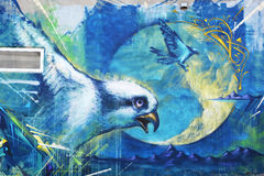 Street art Montreal bird. MONTREAL CANADA DEC 02: Street art Montreal bird on dec 02 2014 in Montreal Canada. Montreal. is the perfect place to walk in the back royalty free stock image