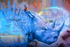 Street art Montreal blue rhino. MONTREAL CANADA DEC 02: Street art Montreal blue rhino on dec 02 2014 in Montreal Canada. Montreal. is the perfect place to walk Stock Image
