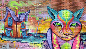 Street art. MONTREAL CANADA AUGUST 11: Street art Montreal on 11 03 2014 in Montreal Canada. Montreal. is the perfect place to walk in the back alleys and Royalty Free Stock Photo