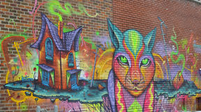 Street art. MONTREAL CANADA AUGUST 11: Street art Montreal on 11 03 2014 in Montreal Canada. Montreal. is the perfect place to walk in the back alleys and Royalty Free Stock Photography