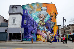Street art Montreal. MONTREAL CANADA JULY 06: Street art Montreal on july 06 2014 in Montreal Canada. Montreal. is the perfect place to walk in the back alleys Royalty Free Stock Photography