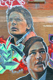 Street art Montreal. MONTREAL CANADA JUNE 23: Street art Montreal explorer on june 23 2014 in Montreal Canada. Montreal is the perfect place to walk in the back Royalty Free Stock Image