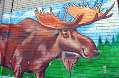 Street art Montreal. MONTREAL CANADA JUNE 23: Street art Montreal explorer on june 23 2014 in Montreal Canada. Montreal is the perfect place to walk in the back Stock Photo