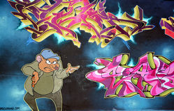Street art Montreal comic rat Stock Photo