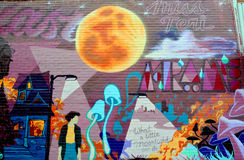 Street art Montreal full moon Royalty Free Stock Photo