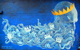 Street art Montreal god of sea Royalty Free Stock Image