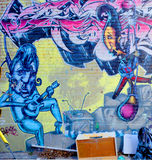 Street art Montreal jazz band. MONTREAL CANADA DEC 02: Street art Montreal jazz band on dec 02 2014 in Montreal Canada. Montreal. is the perfect place to walk in Stock Images