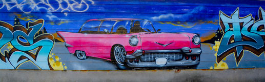 Street art Montreal pink Cadillac. MONTREAL CANADA DEC 02: Street art Montreal pink Cadillac on dec 02 2014 in Montreal Canada. Montreal. is the perfect place to Royalty Free Stock Photo