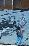 Street art Montreal robot Stock Photo