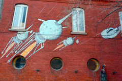 Street art Montreal space ship Stock Image