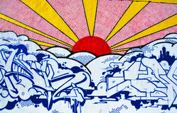 Street art Montreal sun. MONTREAL CANADA DEC 02: Street art Montreal sun on dec 02 2014 in Montreal Canada. Montreal. is the perfect place to walk in the back Royalty Free Stock Image