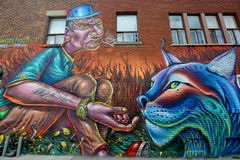 Street art Montreal tiger Royalty Free Stock Photography