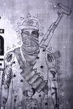 Street art Montreal warrior Royalty Free Stock Image