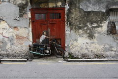 Street art mural in Georgetown, Penang, Malaysia. stock photography