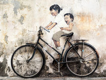 Street Art Mural in Georgetown, Penang, Malaysia Royalty Free Stock Image