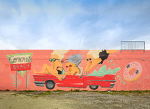 Street Art and Murals in Midtown Miami. MIAMI, FL - DECEMBER 31 2014 - Miami's central art district in the Wynwood and Edgewater neighborhoods features an urban Royalty Free Stock Photo