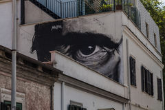 Street art murals in rome, pasolini's eye Royalty Free Stock Image