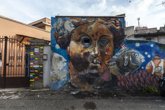 Street art murals in rome. A pictures of last murals event in rome 2015 Stock Images