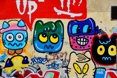 Street art naive art. PARIS FRANCE OCTOBER 19: Street art naive art Paris France october 19 2014. Paris is the perfect place to walk in the back alleys and Stock Images