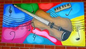 Street art New Zealand style: mural of a guitar Stock Images