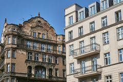 Street with Art Nouveau buildings. In Poznan Royalty Free Stock Image