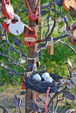 Street art object tree with a metal basket with eggs and castles Royalty Free Stock Photo