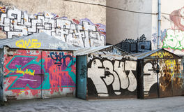 Street art, old garages with colorful graffiti on it Royalty Free Stock Photos