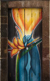 Street art - open door art - blue flames Stock Image