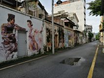 Street art paintin in Ipoh, Malaysia. Travel destination royalty free stock photography