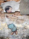 Street Art Painting in Georgetown, Penang, Malaysia Stock Photo