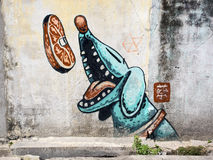 Street Art Painting in Georgetown, Penang, Malaysia Stock Images