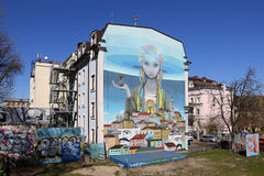 Street Art painting on a house in Kyiv old town Royalty Free Stock Images