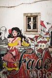 Street art painting in Lisbon, Portugal stock image