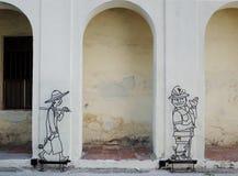 Street Art at Penang - Narrowest ive Foot Way Royalty Free Stock Images
