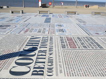 Street Art. Quotes from different comedy shows made into a permanent display on the promenade at Blackpool royalty free stock images