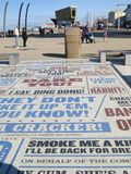 Street Art. Quotes from different comedy shows made into a permanent display on the promenade at Blackpool royalty free stock photos