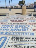 Street Art. Quotes from different comedy shows made into a permanent display on the promenade at Blackpool stock photo