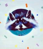 Street art raccoon stock photo