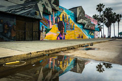 Street art reflecting in a puddle, in Venice Beach  Stock Photo