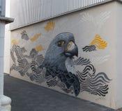 Street art, a bird. Street art in Reykjavik, a bird and many waves Royalty Free Stock Image