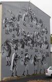Streetart, strange figures. Street art in Reykjavik, strange figures with strange masks Royalty Free Stock Photo