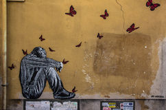 Street Art in Rome. Street art is visual art created in public locations, usually unsanctioned artwork executed outside of the context of traditional art venues Stock Image