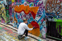 Street art in Rutledge Lane in Melbourne, Australia Royalty Free Stock Photos