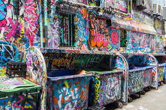 Street art in Rutledge Lane in Melbourne, Australia Royalty Free Stock Images