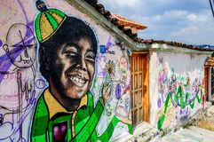 Street art in San Cristobal de las Casas, Mexico. San Cristobal de las Casas, Mexico - March 26, 2015: Street art on old house wall royalty free stock photography