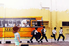 Street Art - School Bus with Pupils Royalty Free Stock Images