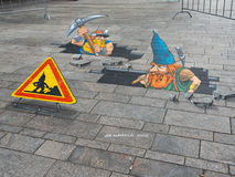 Street art showing optical illusion Royalty Free Stock Images