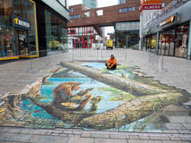 Street art showing optical illusion Stock Photo