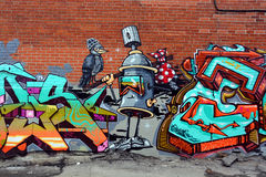Street art spray can. MONTREAL CANADA MARCH 29 2016:Street art spray can.  Montreal. is the perfect place to walk in the back alleys and abandoned areas, looking Royalty Free Stock Images